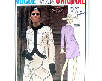 1960s Vintage Vogue Paris Original Sewing Pattern 2307 Pierre Cardin MOD Dress / Uncut FF / Size 12
