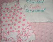 Princess Carleigh Has Arrived Personalized Bodysuit/Gown Hat and Leggings HomeComing Outfit Going Home Outfit - Choice of Name