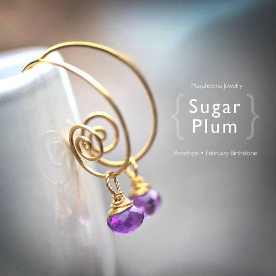 "Sugar Plum - Purple ""Amethyst"" Quartz - Gold Filled Wrapped Briolette Hoop Earrings - February Birthstone"