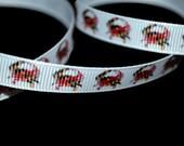 Maryland Crab Ribbon, State Flag Ribbon, Crab Flag Ribbon, Patriotic Ribbon, Cheer Bow Ribbon, Dog Collar Ribbon, MD Pride Ribbon
