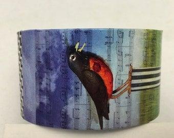 Song Bird Cuff Bird Cuff Decoupage Cuff Bracelet