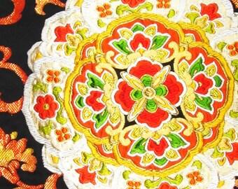 Vintage Rare Design Japanese Kimono Wedding Fukuro Obi Silk Piece Gold Oriental Flowers and Geometric Patterns