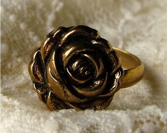 Black Antiqued Gold Floral Rose Bloom Adjustable Ring - Black and Gold Rosebud Blossom