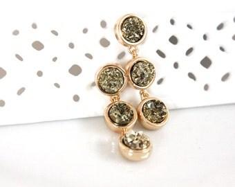 SALE * Druzy color earrings - rich color -GOLD STONE