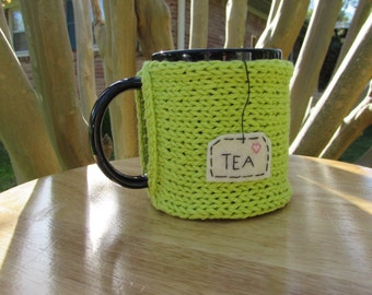 Knitted tea mug cozy tea cup cozy in lime green