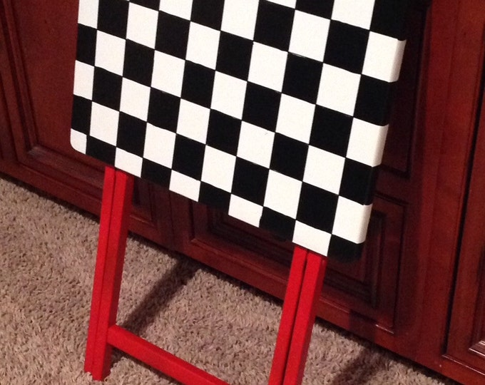 Whimsical Painted Furniture, Painted Tray Table // Checkered Painted Table // whimsical Painted Furniture