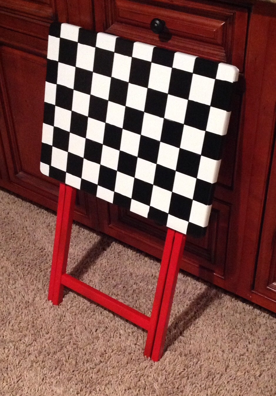 Whimsical Painted Furniture Painted Tray Table Checkered