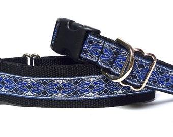 Martingale dog collar or tag collar in blue, silver metallic OLD ENGLISH, Safety Collar, Greyhound Collar, Sighthound Collar, Adjustable