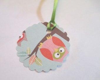 10 Handmade Round Owl Print Gift Hang Tags