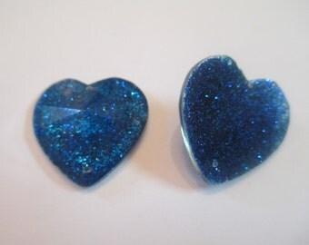 10 Blue Glitter Heart Flat Back Buttons Scrapbooking Craft Supplies