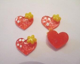 25 Red Heart Flat Back Buttons Scrapbooking Craft Supplies