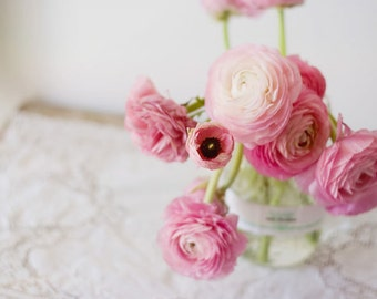 Still Life Photography - Feminine Delicate English Roses Photo Clean Modern Pink Decor Simple Chic Vintage Style Wall Home Decor Print