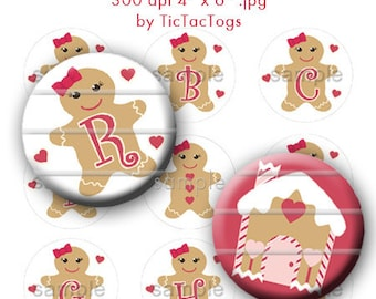 M2MG Gingerbread Girl Bottle Cap Images Digital Set 1 Inch Circle Alphabet Alpha A-Z - Instant Download - BC155