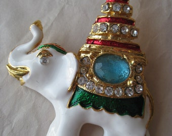 Elephant Red Blue Green Brooch White Gold Rhinestone Vintage Pin Clear India