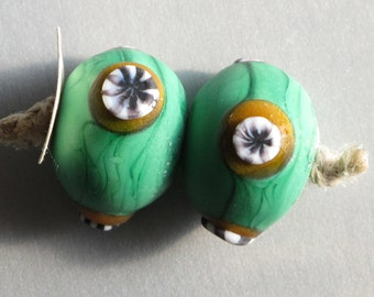 Pair Green Ancient Viking Beads - Handmade Lampwork Glass Beads- Weathered and Worn