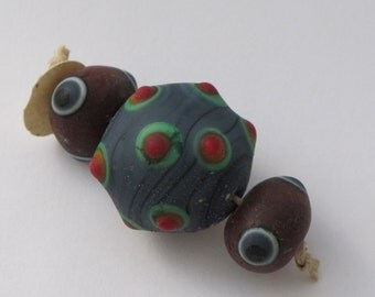 Ancient Style Viking Beads 3 Handmade Lampwork Glass Blue Brown Etched Weathered & Worn