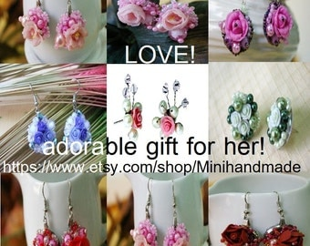 Miniature Polymer Clay Rose, handcrafted beaded earring 1 pair