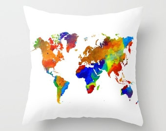 Throw Pillow Cushion Case World Map Design 33 Colorful from digital art L.Dumas