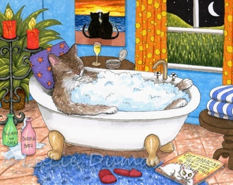 Archival Art Print Cat 567 from funny bathroom art painting by Lucie Dumas