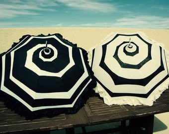 Black and White or Cream and Black Ruffle Spiral Pagoda Umbrella Parasol Tim Burton inspired