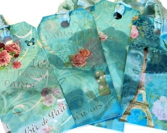 6 Gift Tags, Aqua Green Paris French Vintage Women Flowers, Party Favor Tags, Merchandise Tags