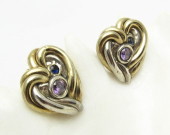 Sterling Rhinestone Heart Earrings Two Tone Large Clip On Vintage Jewelry E7196
