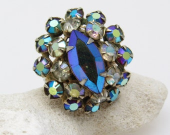 Large Rhinestone Ring Blue Sparkling Vintage Jewelry R7494
