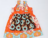 RTS Sale - Sz 18M/2T Owl Apron Knot Dress