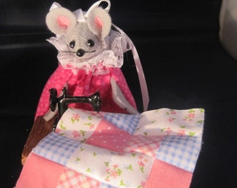 Mouse Sewing a quilt at a Sewing Machine!