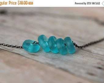 October Sale Recycled Glass Aqua Blue Beads Beach Glass Necklace Gunmetal Chain Gift For Her Under 50
