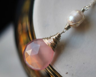 Pink Chalcedony Pendant, Pearl Necklace, Pink Faceted Briolette, Sterling Silver Wire Wrapped,