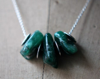 Emerald Green Necklace, Verdite Necklace, Green Gemstone Necklace, Sterling Silver, Under 75, Gift for Her