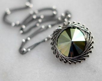 Silver Spiro Pendant, Oxidized Sterling Silver, Wire Wrapped, Bronze Swarovski Crystal Rivoli, Metallic, Steampunk