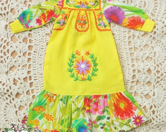 Pre-Order  Mexican Embroidery Maxi Dress for Blythe-Yellow