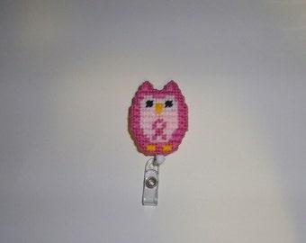 Breast Cancer Awareness Owl Retractable Badge Clip