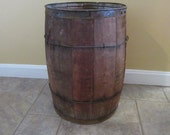 Very nice old rustic wood nail keg with metal strapping - solid, great vintage condition