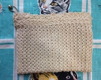 30's small off white ecru crochet clutch