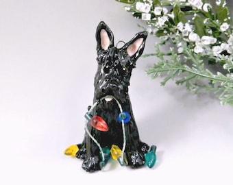 Scottish Terrier Black Christmas Ornament Figurine Lights Porcelain