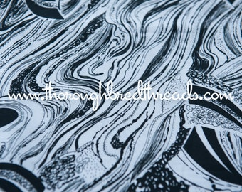 Mod Black and White Abstract - New Old Stock Vintage Fabric 60s 70s