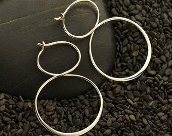 Sterling Silver Infinity Hoops Earrings - Solid 925 - Insurance Included