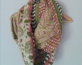 Infinity scarf vintage kantha quilt green red tones