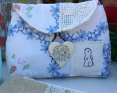 Pouch antique linen butterfly stamp and button