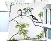 gray birds decorative pillow cover, white grey black green flowers, cushion cover 18 inch