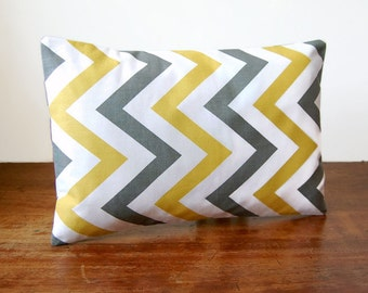 12 x 18 inch zig zag lumbar decorative pillow cover, yellow, grey, white large  chevron cushion cover