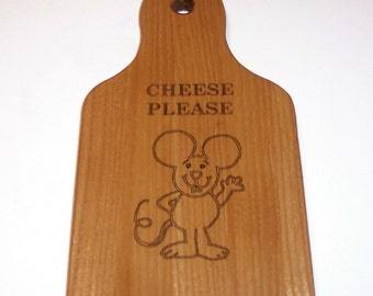 Laser Engraved Cheese Board Cutting Board Handcrafted from Cherry Hardwood