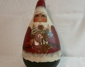 Gourd Santa, Hand painted, Folk Art, Primitive, Gingers