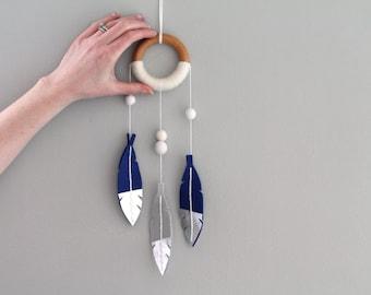 Sapphire Shimmer Dreamcatcher. Tribal Nursery Dreamer Wall Hanging. Luxe Felt Feather Dream Catcher. Baby Dream Catcher Boho Nursery Decor.