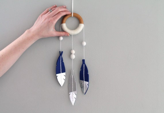 Feather Dreamcatcher Silver and Blue. Tribal Nursery Dreamer Wall Hanging. Luxe Felt Feather Dream Catcher. Baby Dream Catcher Boho Nursery