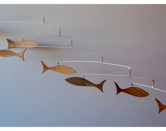Free Shipping on Solid walnut Danish Modern inspired Fish Mobile.