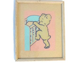 Vintage glow in the dark framed nursery picture - 1940s - Bear - Magic Picture - Infants Specialty Company